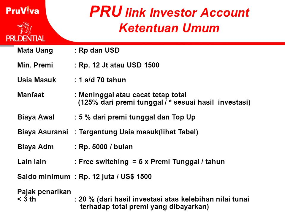 PRU link Investor Account