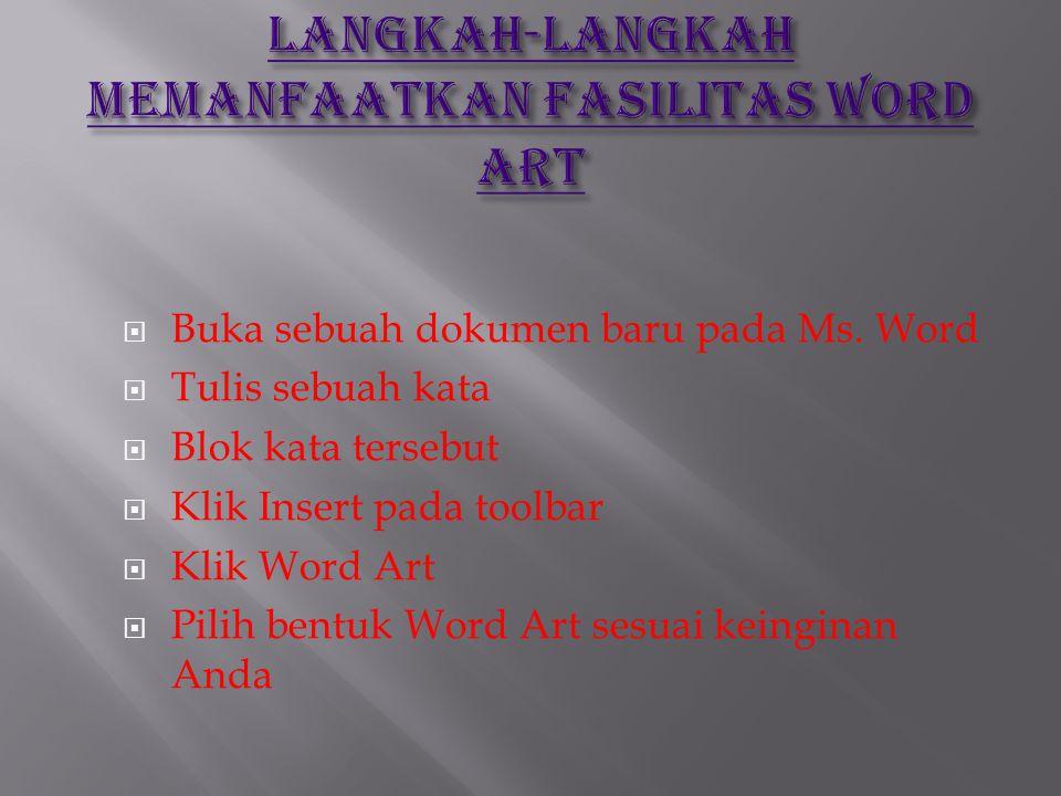 LANGKAH-LANGKAH MEMANFAATKAN FASILITAS WORD ART
