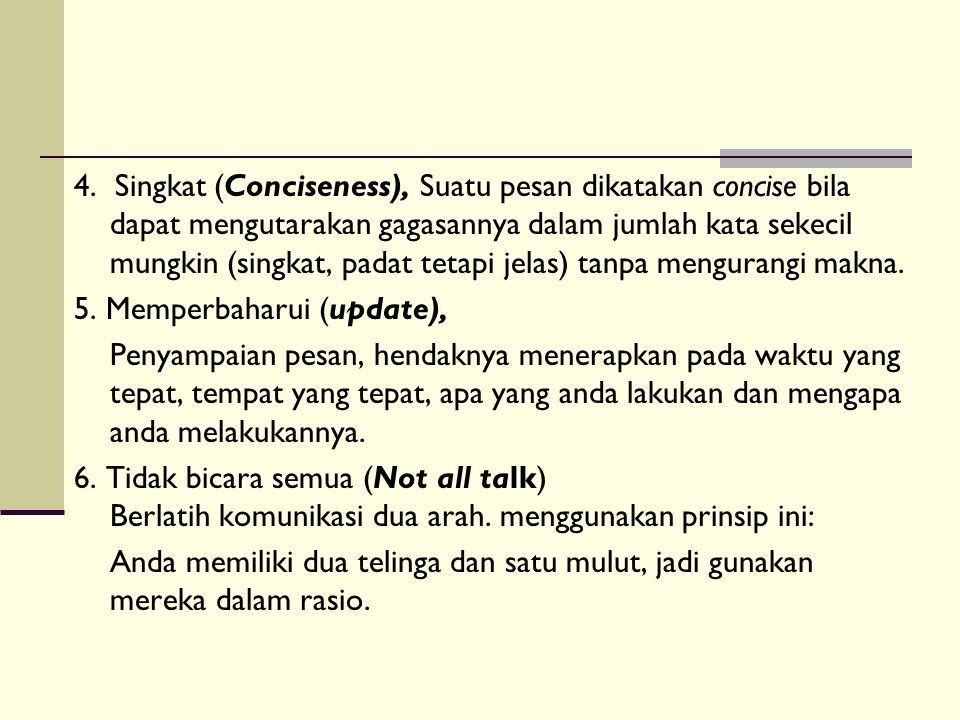 4. Singkat (Conciseness), Suatu pesan dikatakan concise bila dapat mengutarakan gagasannya dalam jumlah kata sekecil mungkin (singkat, padat tetapi jelas) tanpa mengurangi makna.