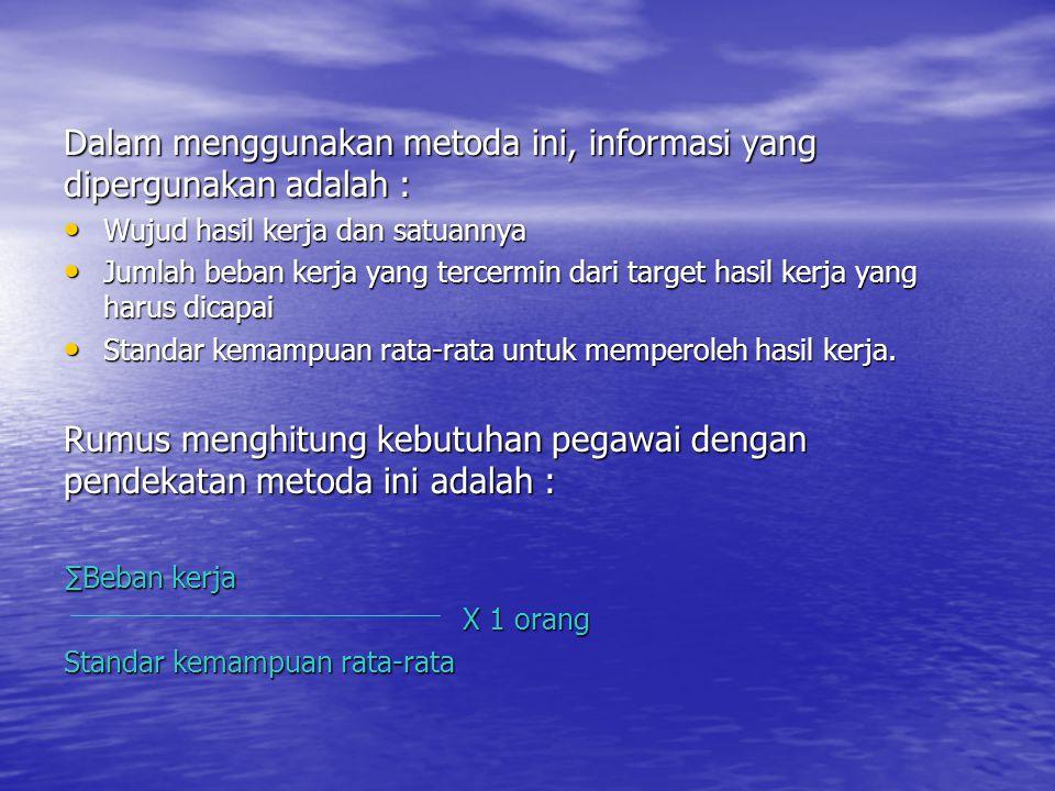 Dalam menggunakan metoda ini, informasi yang dipergunakan adalah :
