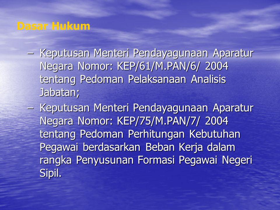 Dasar Hukum Keputusan Menteri Pendayagunaan Aparatur Negara Nomor: KEP/61/M.PAN/6/ 2004 tentang Pedoman Pelaksanaan Analisis Jabatan;