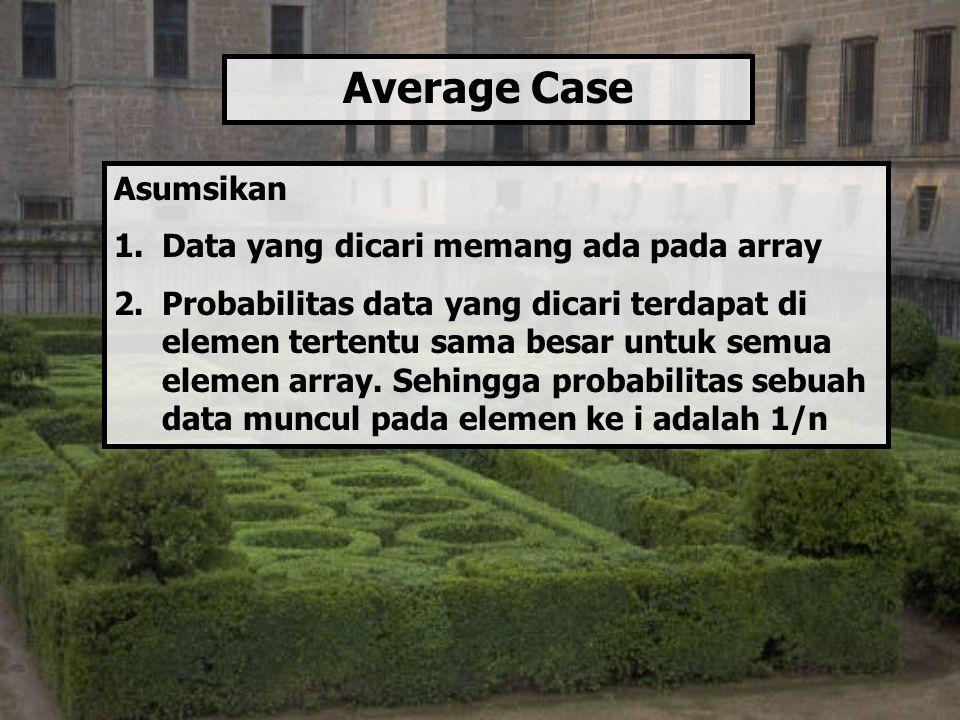 Average Case Asumsikan Data yang dicari memang ada pada array