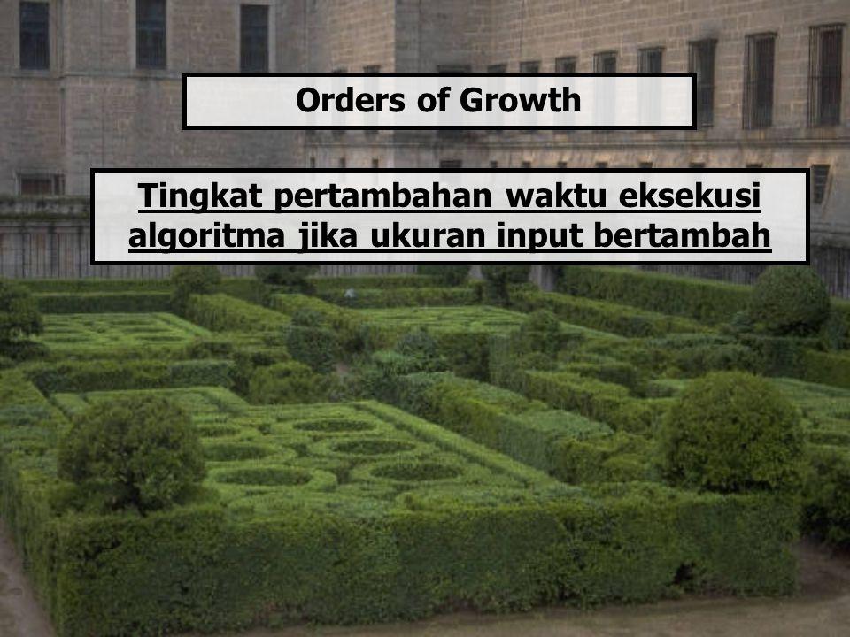 Orders of Growth Tingkat pertambahan waktu eksekusi algoritma jika ukuran input bertambah