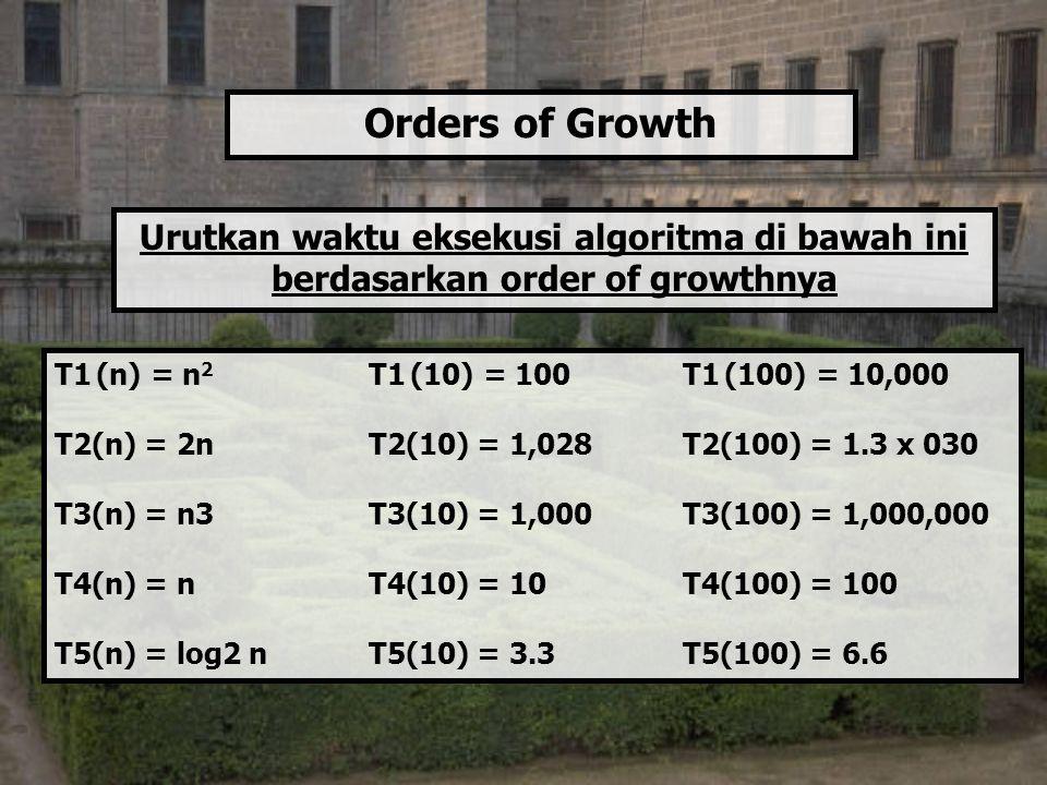Orders of Growth Urutkan waktu eksekusi algoritma di bawah ini berdasarkan order of growthnya. T1 (n) = n2 T1 (10) = 100 T1 (100) = 10,000.