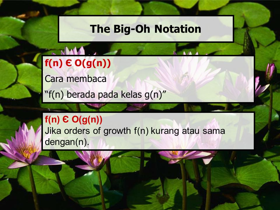 The Big-Oh Notation f(n) Є O(g(n)) Cara membaca
