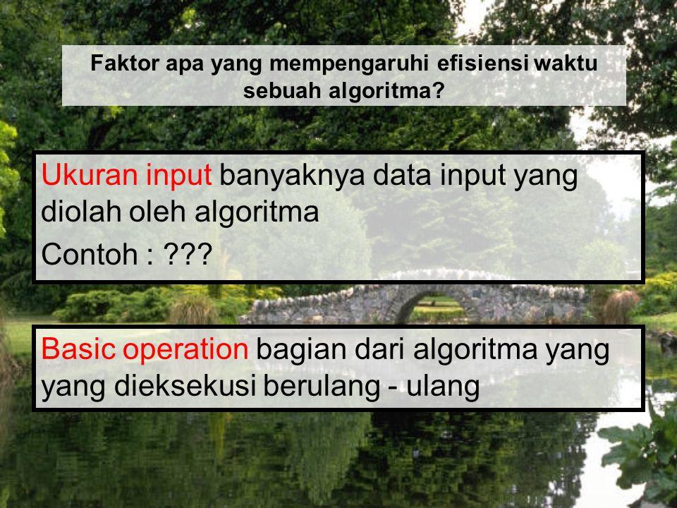 Faktor apa yang mempengaruhi efisiensi waktu sebuah algoritma
