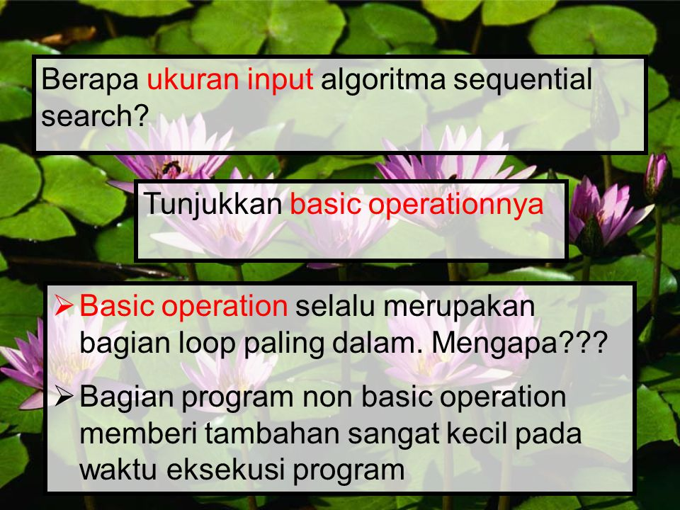 Berapa ukuran input algoritma sequential search