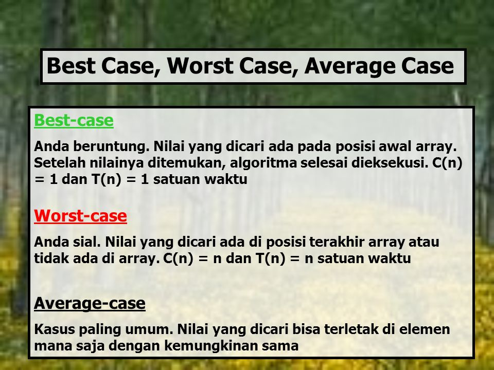 Best Case, Worst Case, Average Case