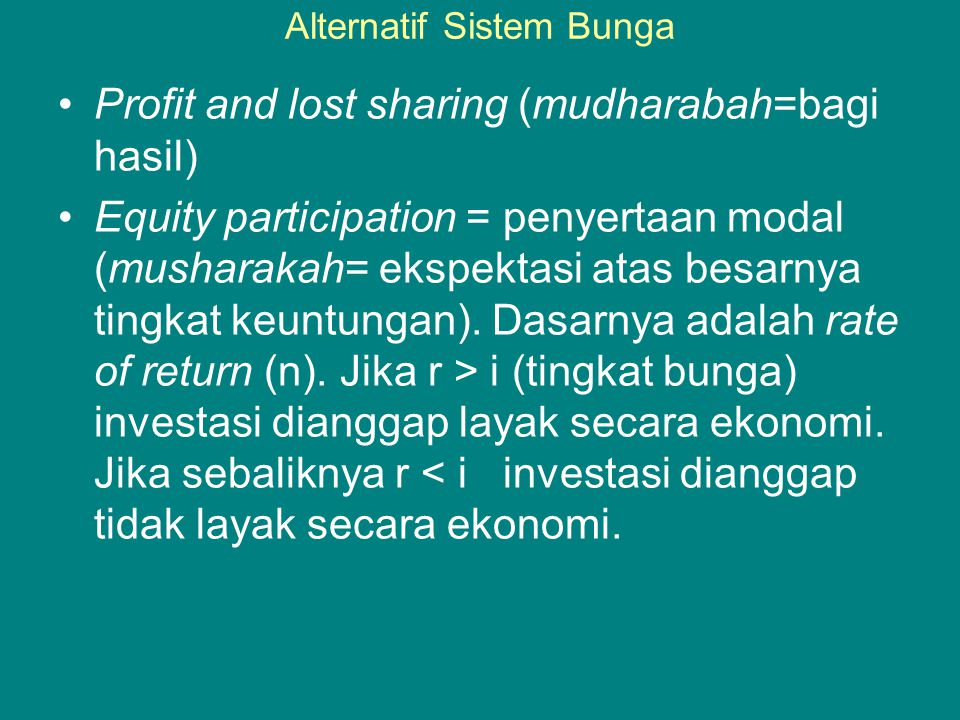 Alternatif Sistem Bunga