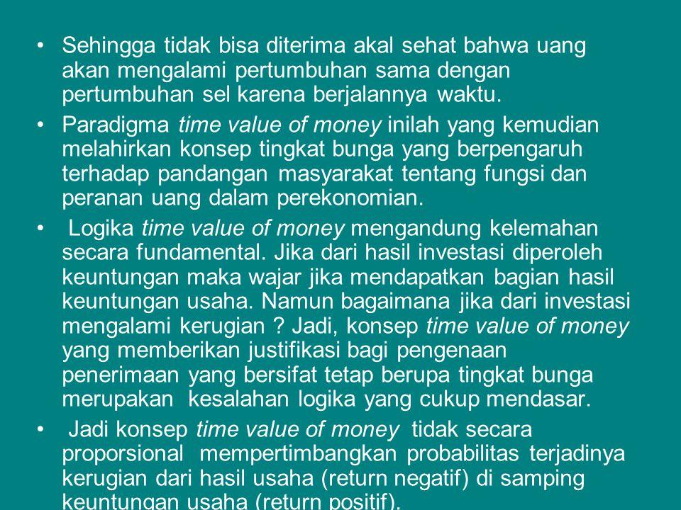Sehingga tidak bisa diterima akal sehat bahwa uang akan mengalami pertumbuhan sama dengan pertumbuhan sel karena berjalannya waktu.