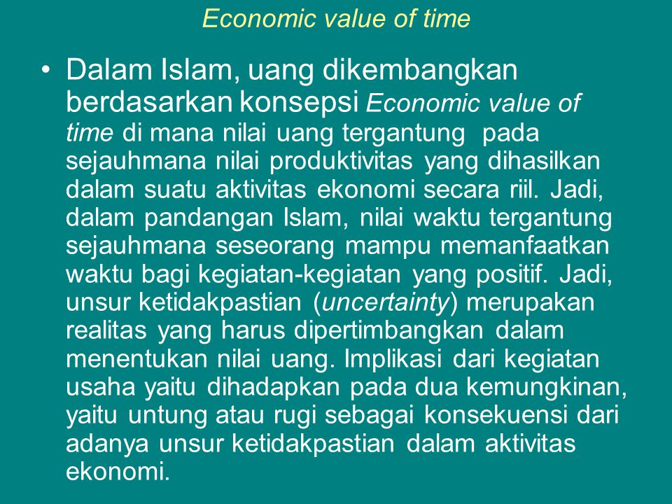 Economic value of time