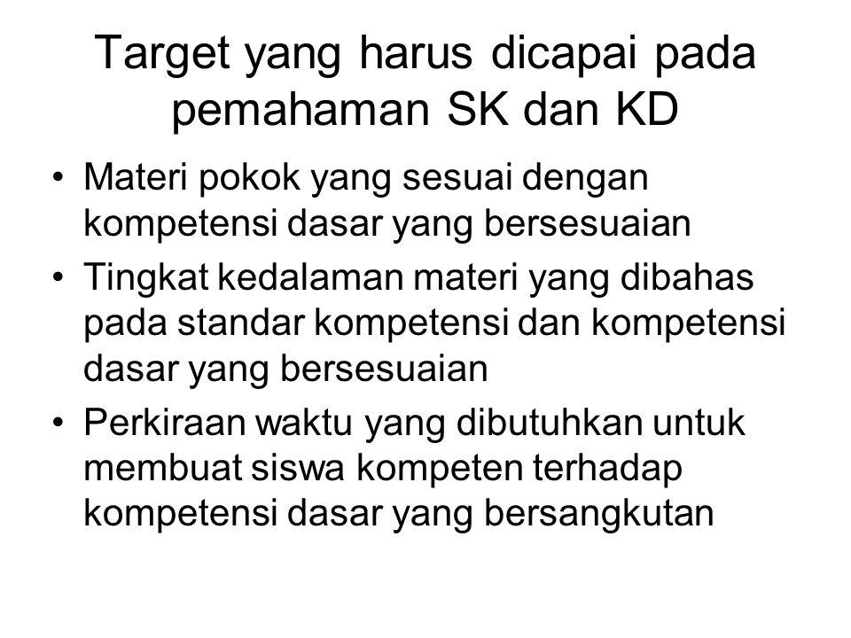 Target yang harus dicapai pada pemahaman SK dan KD