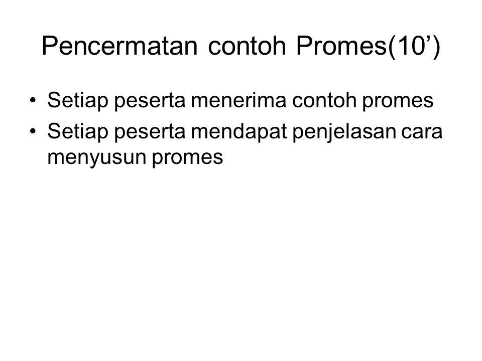 Pencermatan contoh Promes(10')