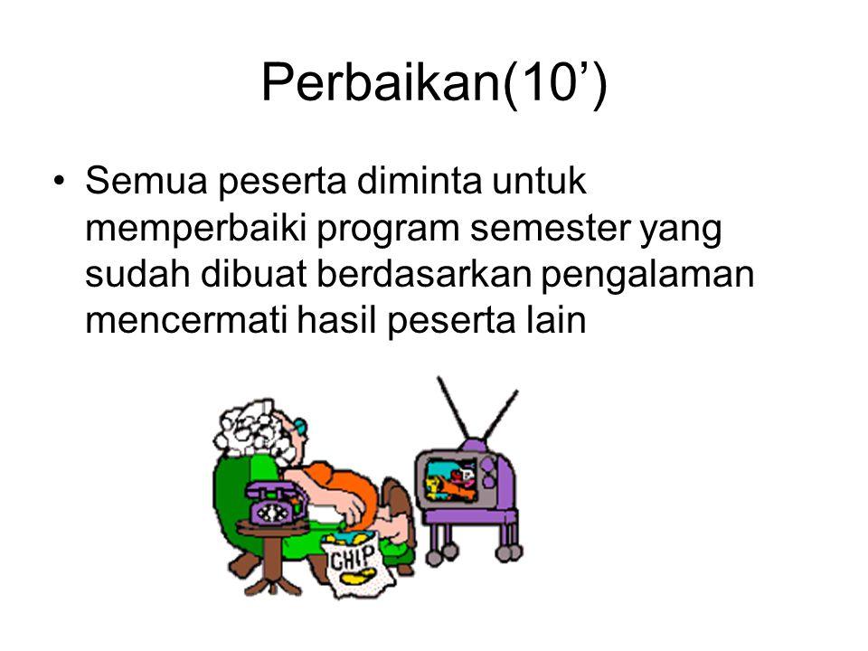 Perbaikan(10') Semua peserta diminta untuk memperbaiki program semester yang sudah dibuat berdasarkan pengalaman mencermati hasil peserta lain.