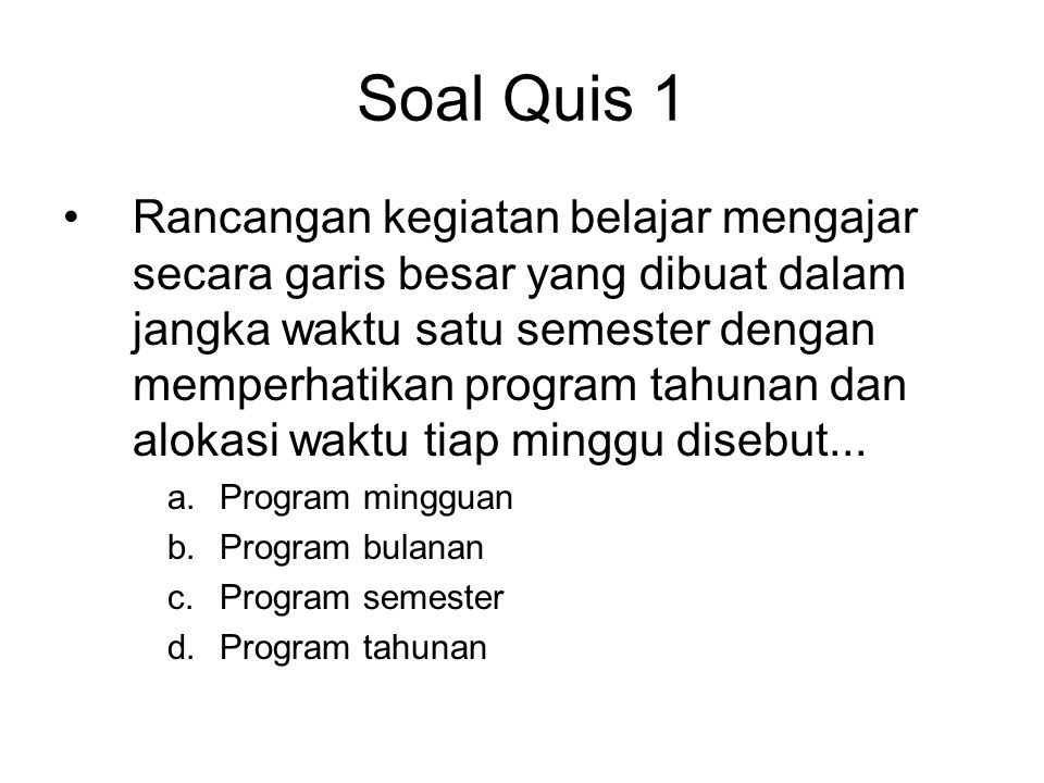 Soal Quis 1