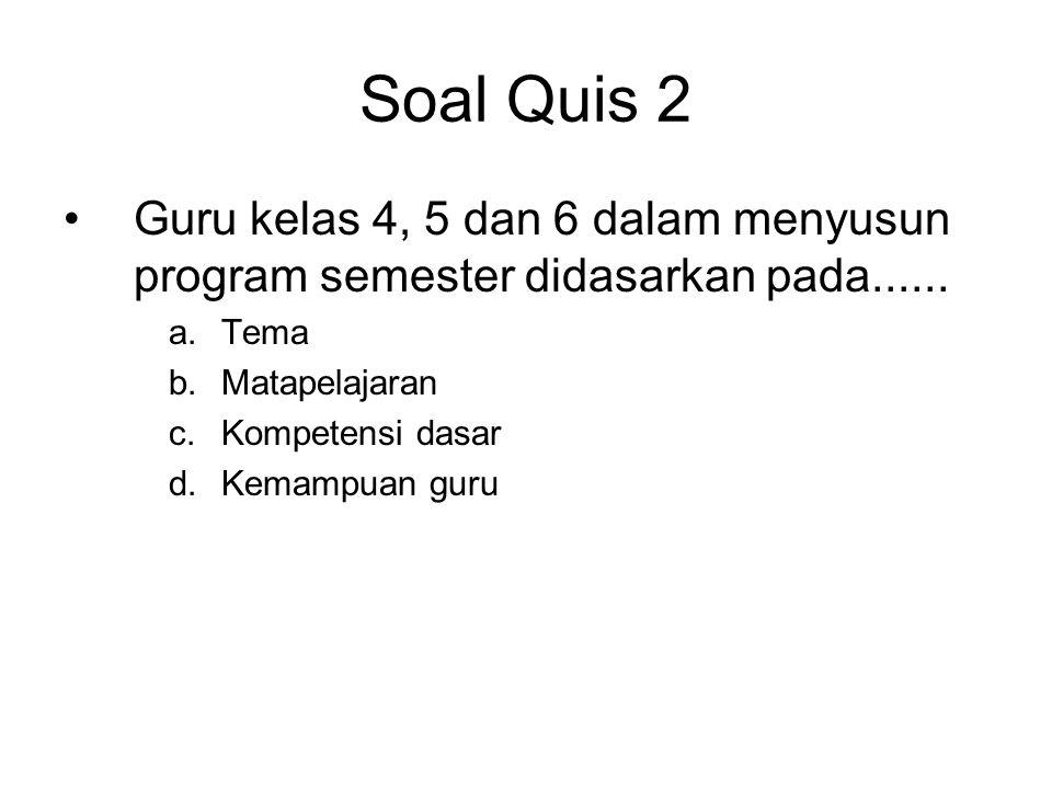 Soal Quis 2 Guru kelas 4, 5 dan 6 dalam menyusun program semester didasarkan pada...... Tema. Matapelajaran.