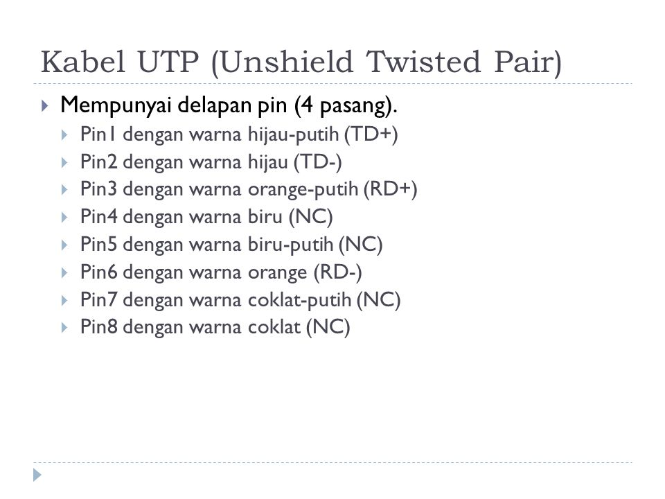 Kabel UTP (Unshield Twisted Pair)
