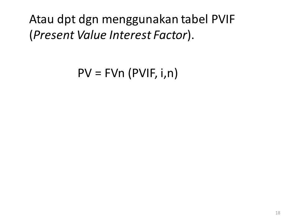 Atau dpt dgn menggunakan tabel PVIF (Present Value Interest Factor)