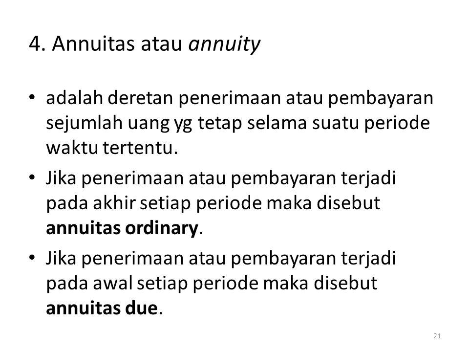 Annuitas atau annuity adalah deretan penerimaan atau pembayaran sejumlah uang yg tetap selama suatu periode waktu tertentu.