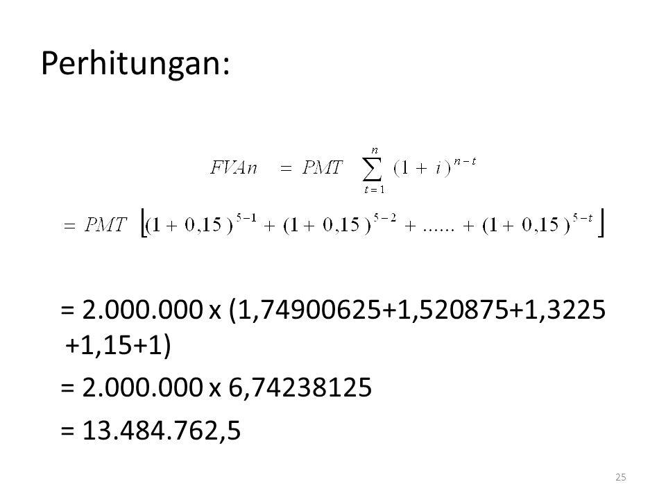 Perhitungan: = 2.000.000 x (1,74900625+1,520875+1,3225 +1,15+1)