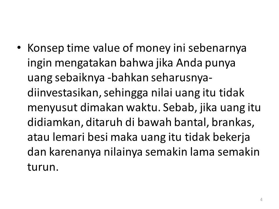 Konsep time value of money ini sebenarnya ingin mengatakan bahwa jika Anda punya uang sebaiknya -bahkan seharusnya- diinvestasikan, sehingga nilai uang itu tidak menyusut dimakan waktu.