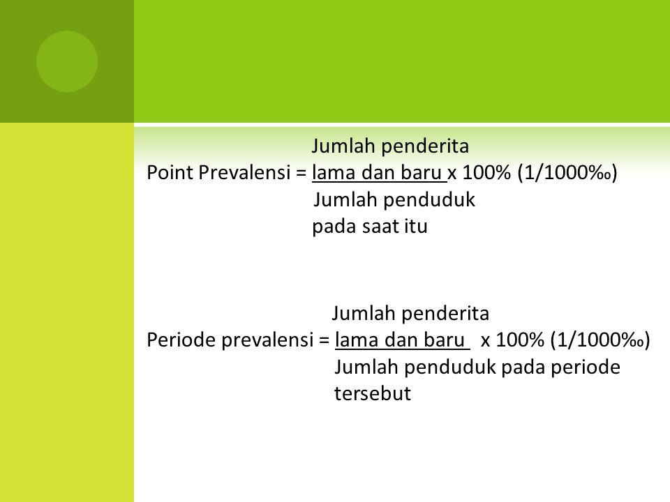 Jumlah penderita. Point Prevalensi = lama dan baru x 100% (1/1000‰)