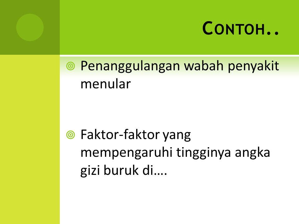 Contoh.. Penanggulangan wabah penyakit menular