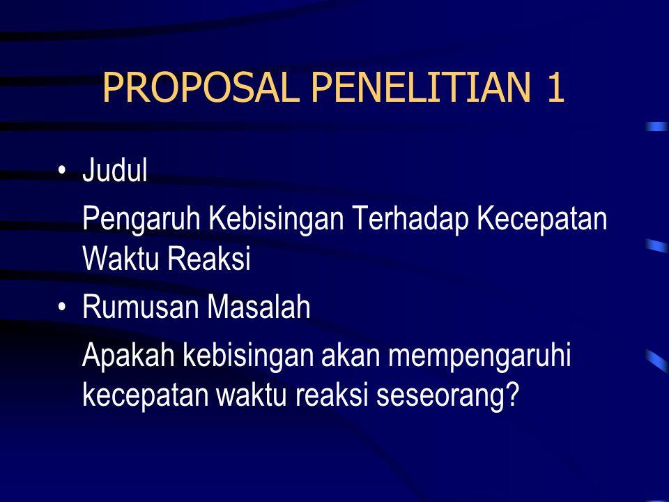 PROPOSAL PENELITIAN 1 Judul