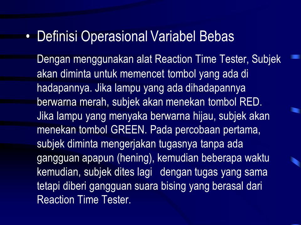 Definisi Operasional Variabel Bebas