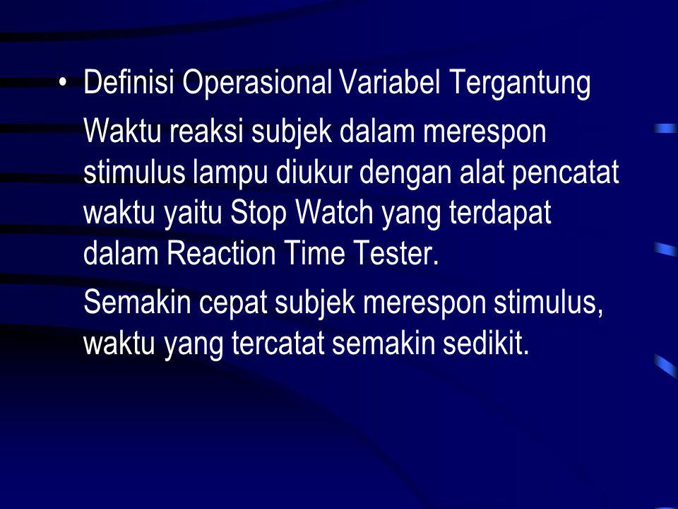 Definisi Operasional Variabel Tergantung