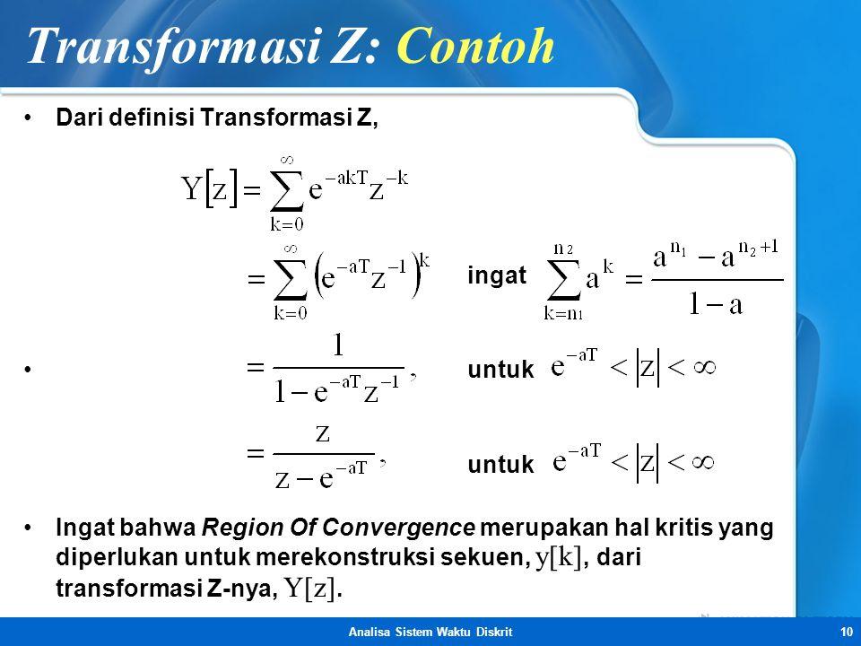 Transformasi Z: Contoh