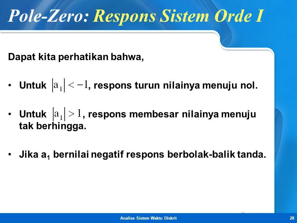 Pole-Zero: Respons Sistem Orde I