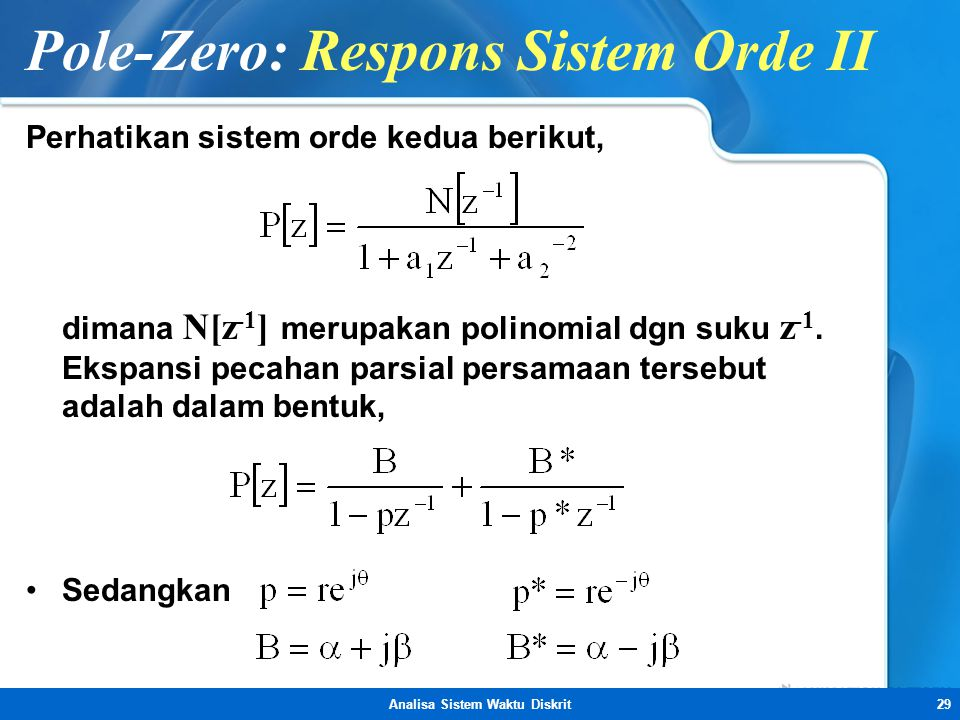 Pole-Zero: Respons Sistem Orde II