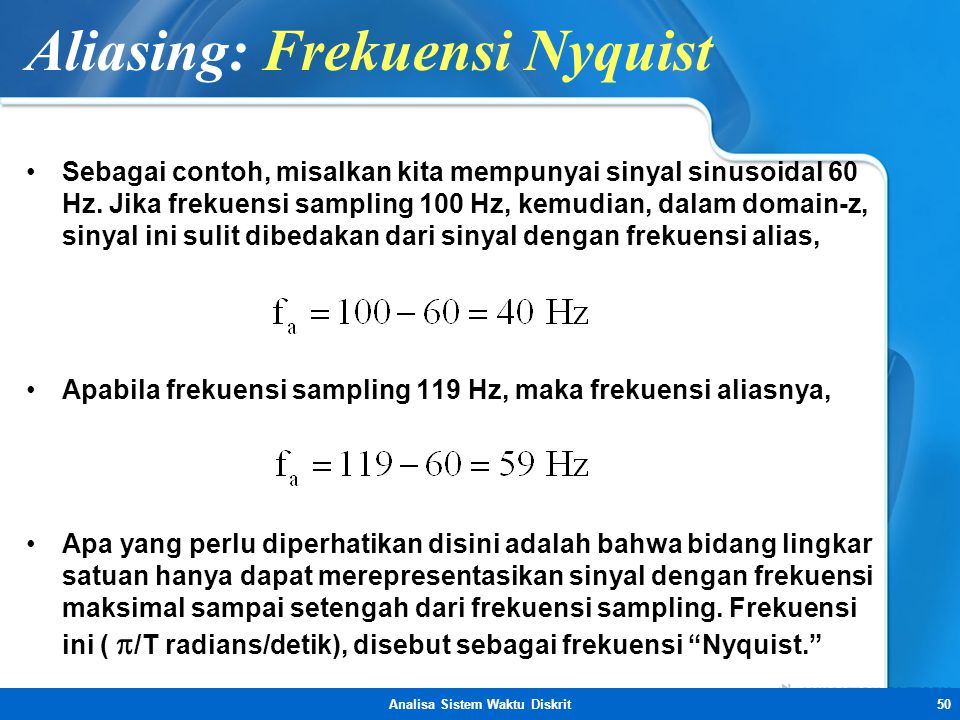 Aliasing: Frekuensi Nyquist