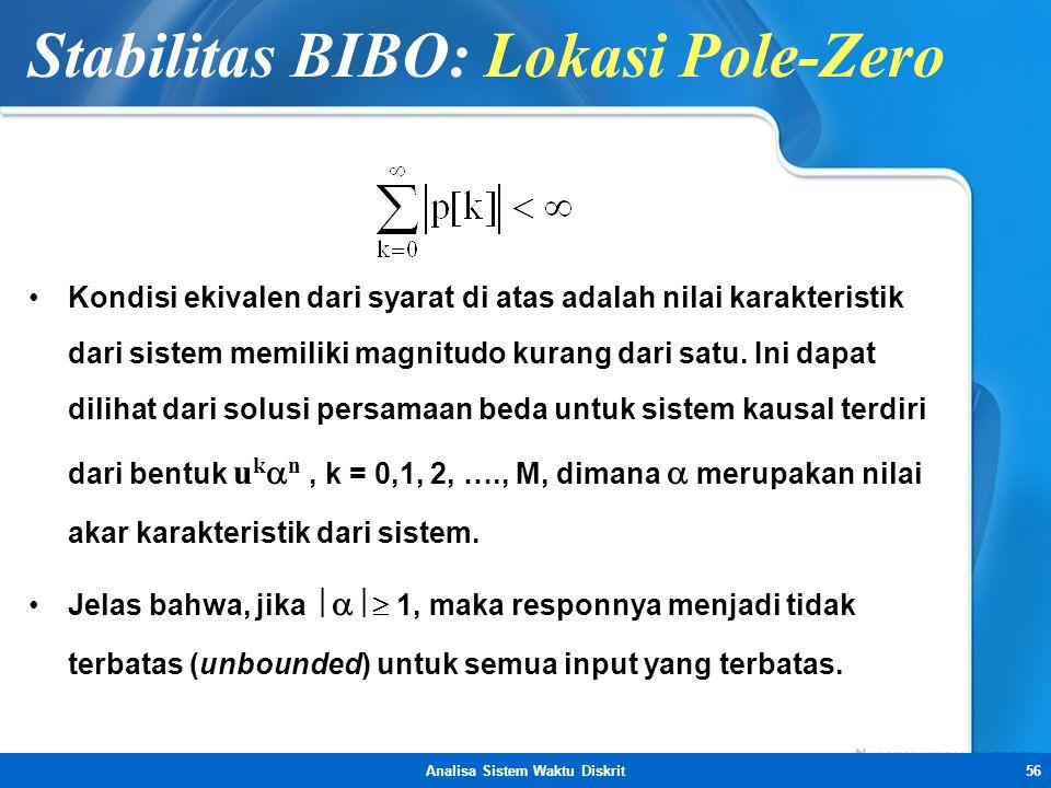 Stabilitas BIBO: Lokasi Pole-Zero