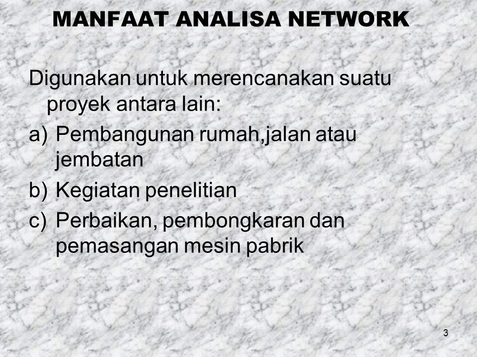 MANFAAT ANALISA NETWORK
