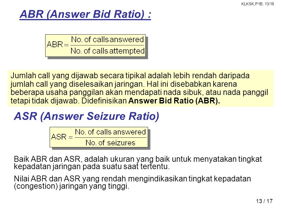 ABR (Answer Bid Ratio) :
