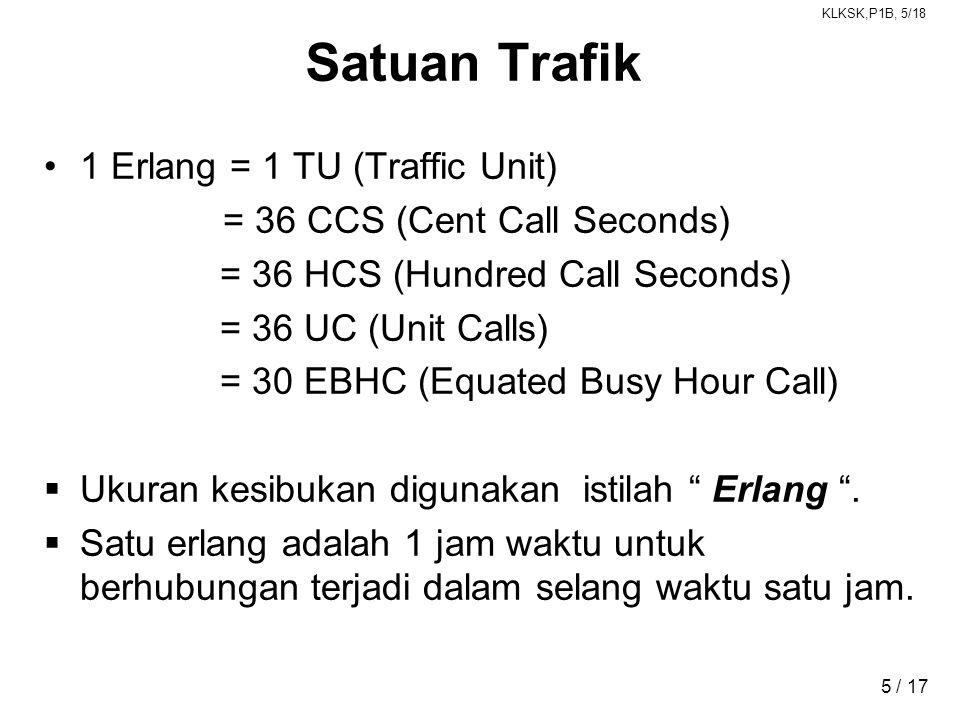Satuan Trafik 1 Erlang = 1 TU (Traffic Unit)