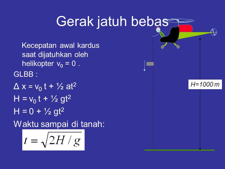 Gerak jatuh bebas Δ x = v0 t + ½ at2 H = v0 t + ½ gt2 H = 0 + ½ gt2