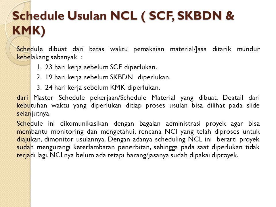 Schedule Usulan NCL ( SCF, SKBDN & KMK)
