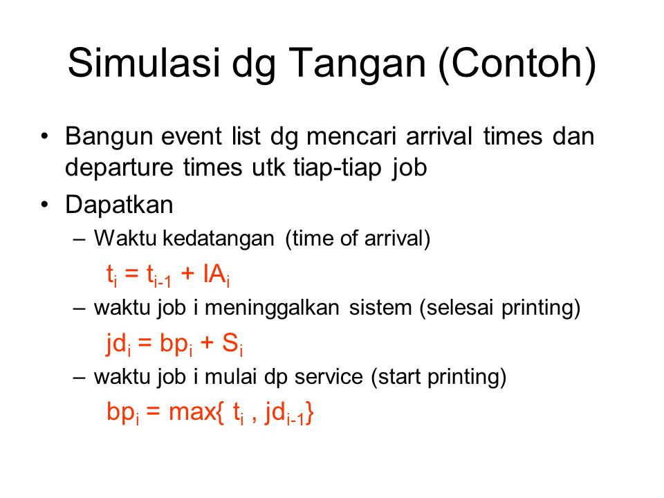Simulasi dg Tangan (Contoh)