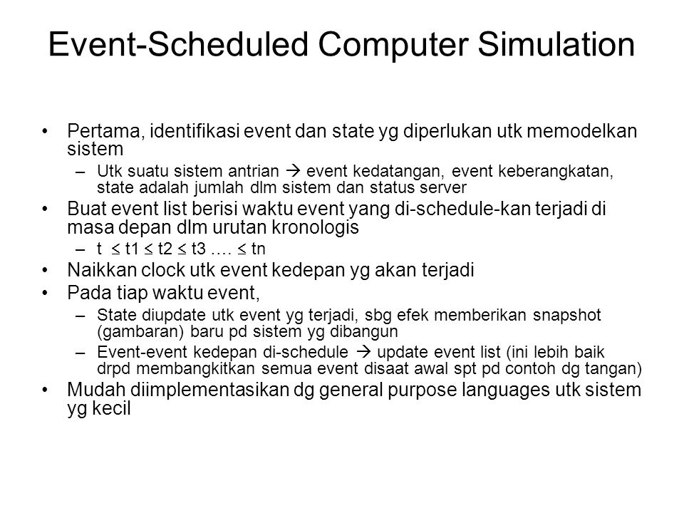 Event-Scheduled Computer Simulation