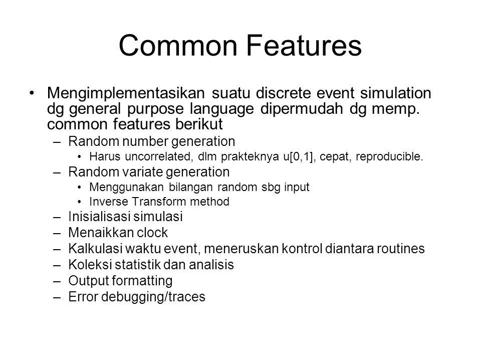 Common Features Mengimplementasikan suatu discrete event simulation dg general purpose language dipermudah dg memp. common features berikut.