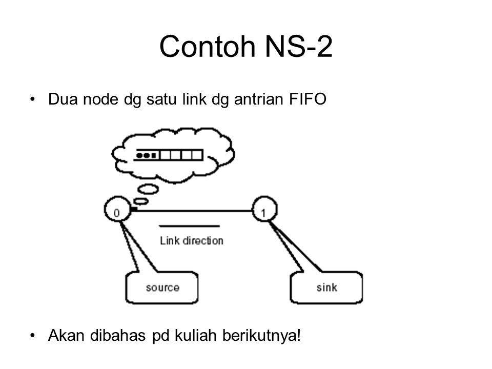 Contoh NS-2 Dua node dg satu link dg antrian FIFO