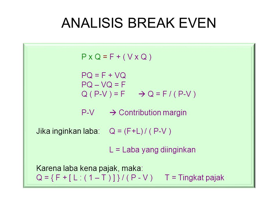 ANALISIS BREAK EVEN P x Q = F + ( V x Q ) PQ = F + VQ PQ – VQ = F
