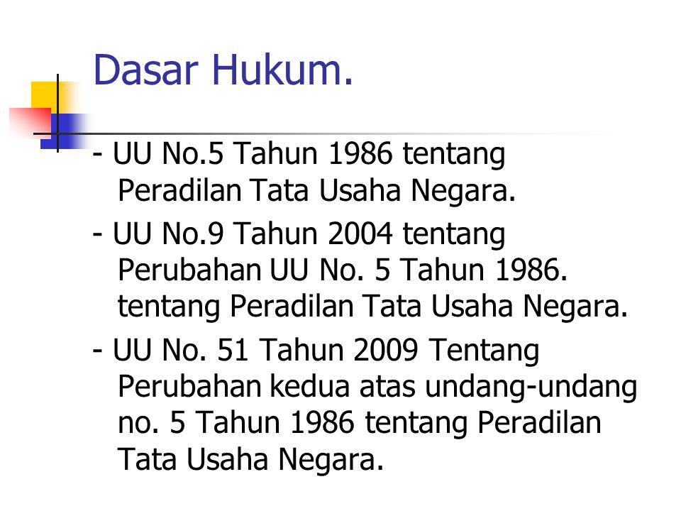 Dasar Hukum. - UU No.5 Tahun 1986 tentang Peradilan Tata Usaha Negara.