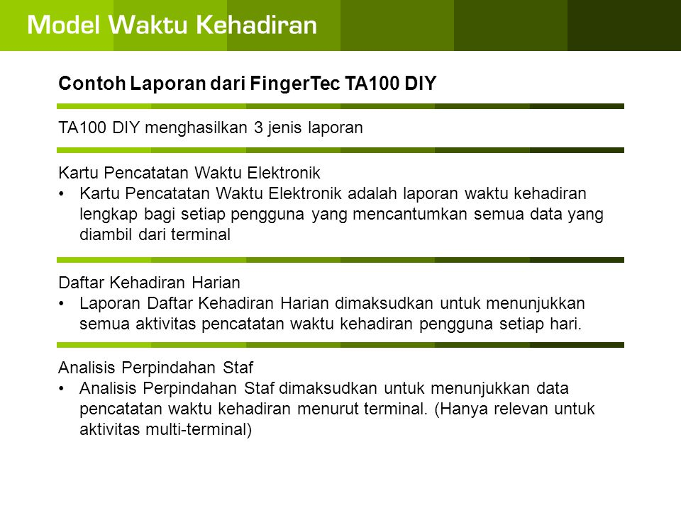 Contoh Laporan dari FingerTec TA100 DIY
