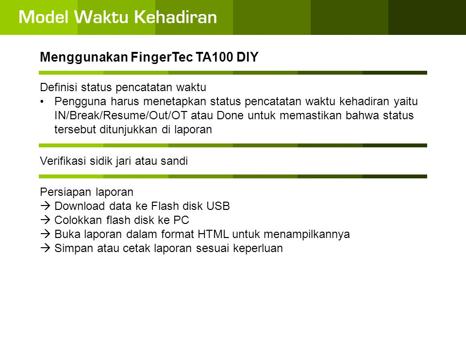Menggunakan FingerTec TA100 DIY