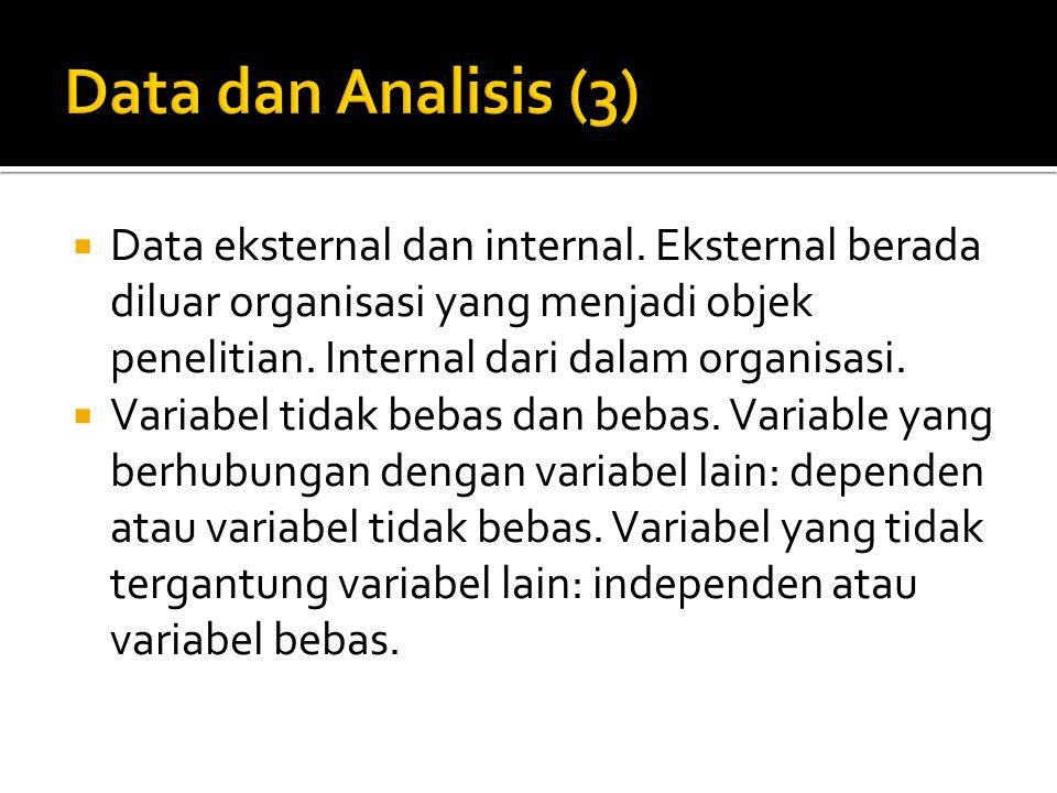 Data dan Analisis (3) Data eksternal dan internal. Eksternal berada diluar organisasi yang menjadi objek penelitian. Internal dari dalam organisasi.