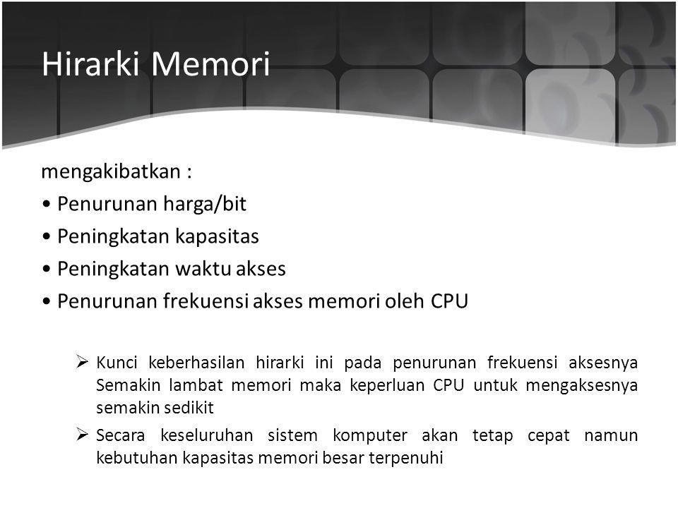 Hirarki Memori mengakibatkan : • Penurunan harga/bit